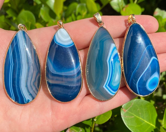 Natural Blue Striped Agate Gemstone Teardrop Pendant | Hammered Gold Brass | Sold Individually | Size 25x50mm