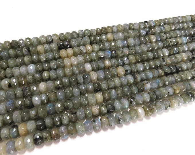 5x8mm Labradorite Grade A Faceted Rondelle Beads Gemstone Loose 15'' Full Strand