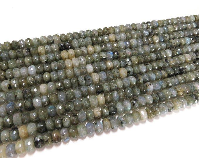 Labradorite Beads | Faceted Rondelle | Natural Gemstone Beads | Grade A | Sold by 7 Inch Strand | Size 8x5mm