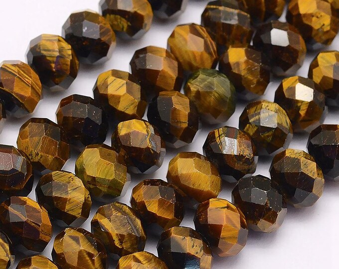 Tiger Eye Rondelle Beads | Faceted Natural Gemstone Loose Beads | Sold by 15 Inch Strand | Size 4x6mm | Hole 1mm