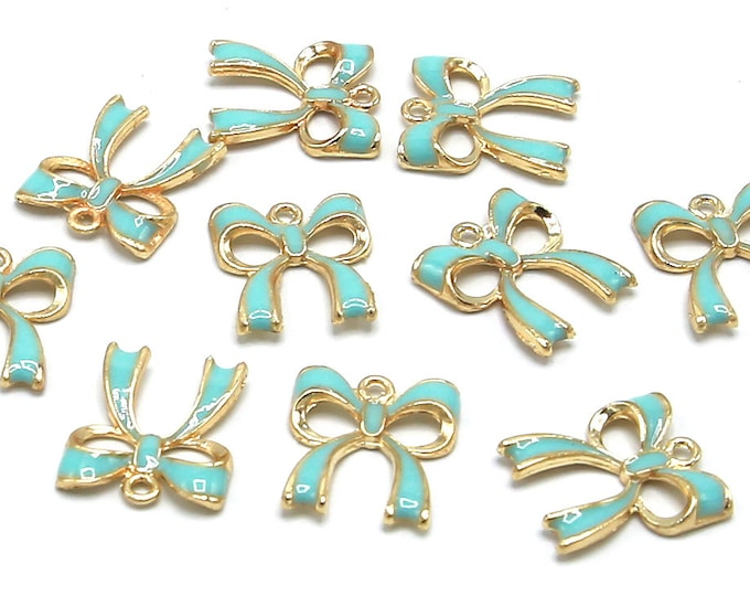 Bowknot Charm Pendant | Blue Gold | Zinc Alloy | Sold by Lot 5 Pcs | Size 19.5x17.5x3mm
