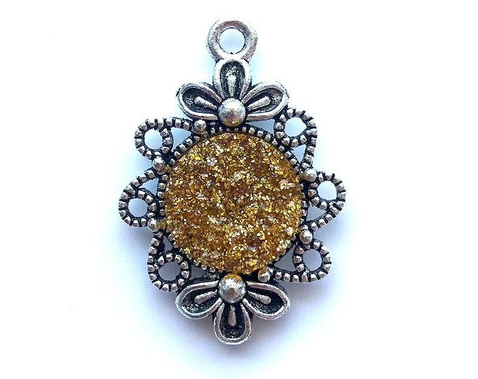 2 Pieces Antique Silver Plated Yellow Glitter Faux Druzy Agate Bezel Charm Flower Pendant