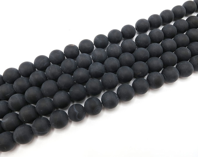 "Matte Black Agate Beads 6mm 8mm Banded Stripes Frosted Round Natural Onyx Gemstone Loose 15.5"" Full Strand Wholesale"