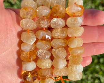 Natural Citrine Beads | Grade AAA | Faceted Large Accent Gemstone Loose Beads | Sold by 4 Inch Strand | Size 15x12x9mm | Hole 1-1.5mm