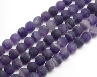 Matte Amethyst Beads | Grade A | Round Natural Gemstone Beads | Sold by 15 Inch Strand | Size 4mm 6mm 8mm 10mm 12mm