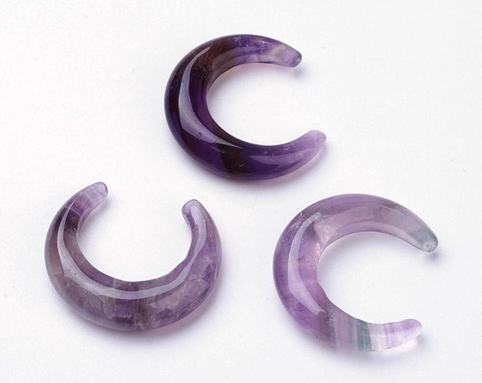 Amethyst Beads | Moon Pendant | Natural Gemstone Focal Bead | Sold by Piece | Size 30x27~28x5~6mm | No Hole