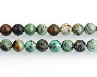 African Turquoise Beads | Natural Round Gemstone Beads | Sold by 15 Inch Strand | Size 4mm 6mm 8mm 10mm 12mm