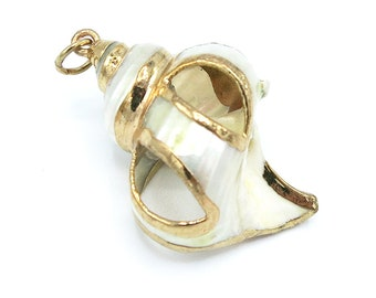 1 Piece Gold Plated Natural Sea Shell Trumpet Conch Pendant Bead 50x32x30mm