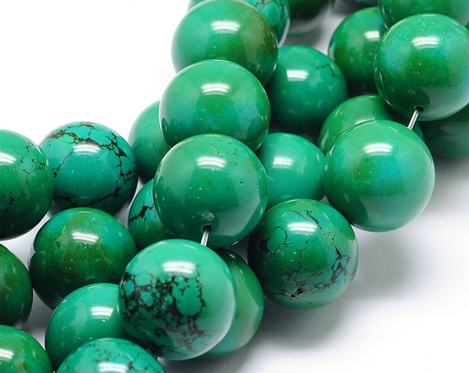 Green Turquoise Beads | Round Natural Gemstone Loose Beads | Sold by 7 Inch Strand | Size 4mm 6mm 8mm 10mm 12mm