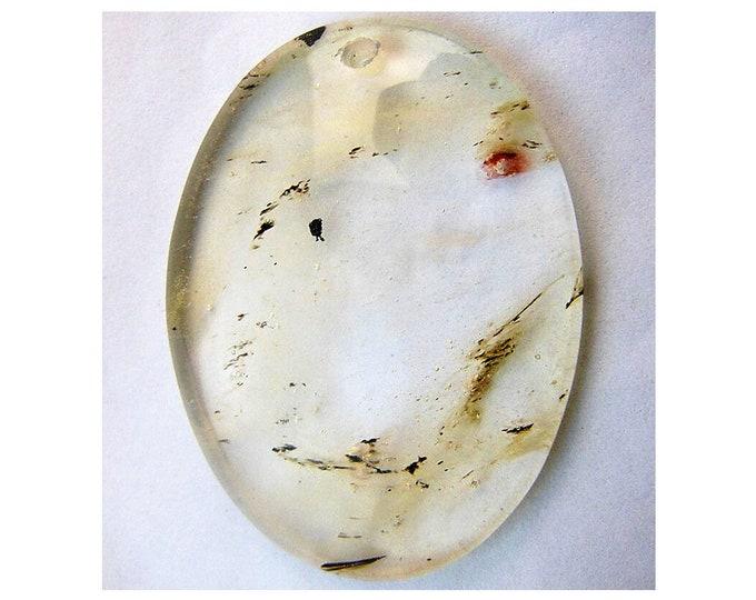 Clear Cherry Quartz Oval Gemstone Pendant Focal Bead 48x37x7mm V09868