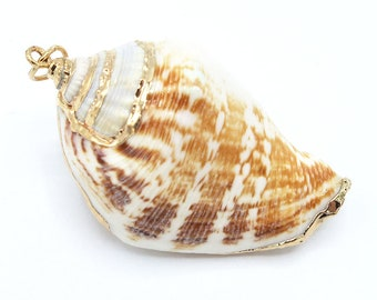 1 Piece Gold Plated Natural Sea Shell Trumpet Conch Pendant Bead 42x24x18mm