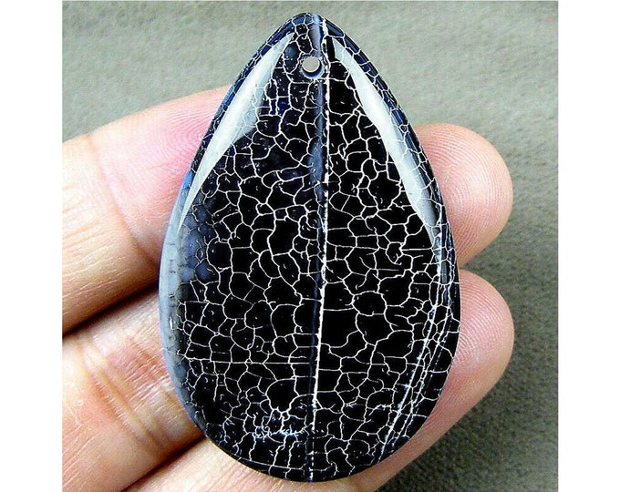 Unique Black White Fire Agate Teardrop Gemstone Pendant Focal Bead 47x30x7mm B83417