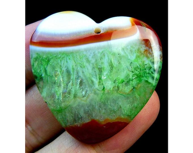 Brown Green Druzy Geode Agate Heart Gemstone Pendant Focal Bead 37x37x6mm V09849