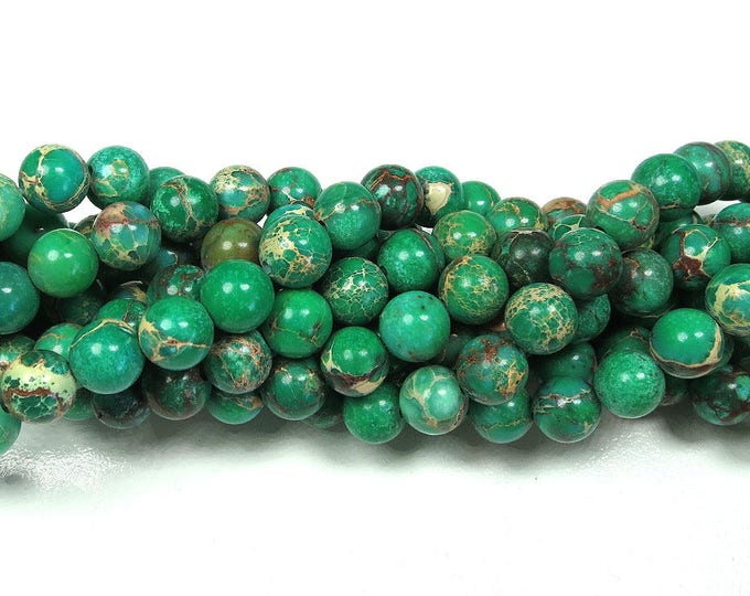 """8mm Green Impression Jasper Beads Imperial Sea Sediment Round Polished Natural Gemstone Dyed Loose 15.5"""" Full Strand Wholesale"""