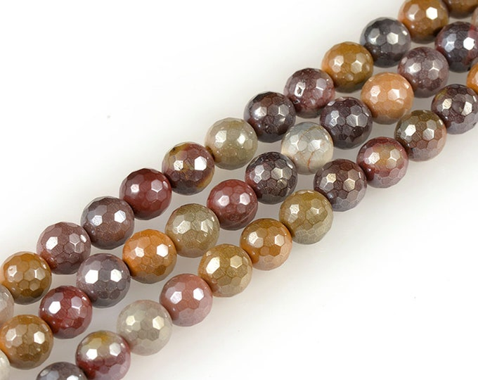 Mookaite Jasper Beads | Grade AAA | Faceted Round Plated Natural Gemstone Loose Beads | Sold by 15 Inch Strand | Size 8mm
