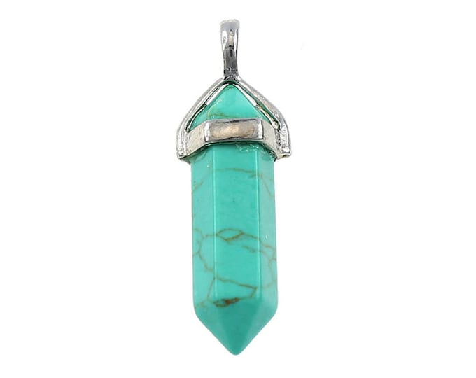 Green Magnesite Turquoise Double Terminated Silver Plated Bail Pencil Point Chakra Pendant Bead