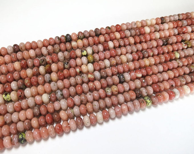 Jade Rondelle Beads | Plum Blossom | Natural Gemstone Loose Beads | Sold by Strand | Size 8x5mm