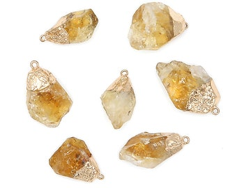 Natural Citrine Pendant, Raw Citrine Nugget, Gold Plated Brass, Freeform Focal Bead, November Birthstone, Wholesale