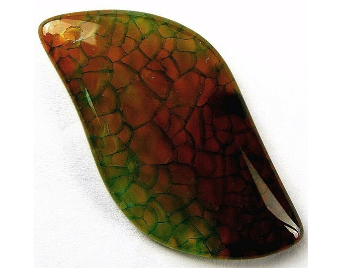 Brown Green Fire Agate Freeform Gemstone Pendant Focal Bead 44x24x6mm B83180