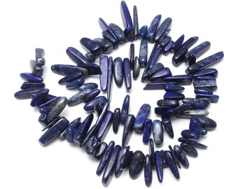 Lapis Lazuli Chips Nuggets Natural Gemstone Jewelry Beads Polished Full Strand 15.5""