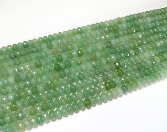 5x8mm Green Aventurine Faceted Rondelle Beads Gemstone Loose 15'' Full Strand