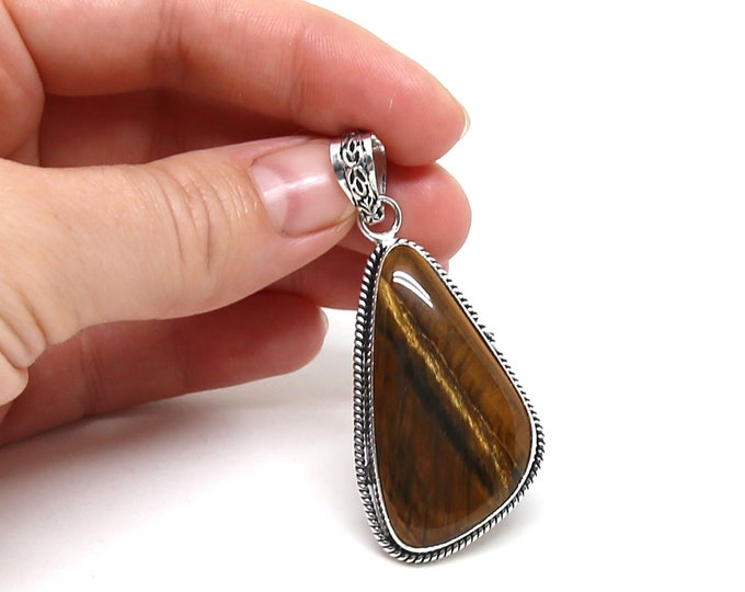Natural Tiger Eye Vintage Style Natural Gemstone .925 Solid Sterling Silver Pendant