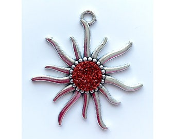Sun Pendant | Red Faux Druzy Agate Charm | Silver Color Plated | Sold by Piece | Size 55x50mm | Hole 4mm