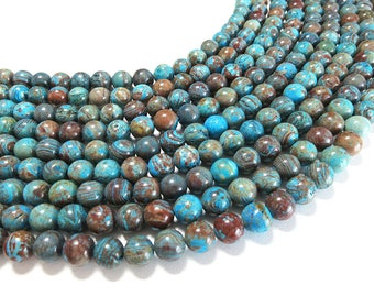 Blue Calsilica Jasper Beads | Natural Round Gemstone Beads | Sold by 15 Inch Strand | Size 4mm 6mm 8mm 10mm 12mm