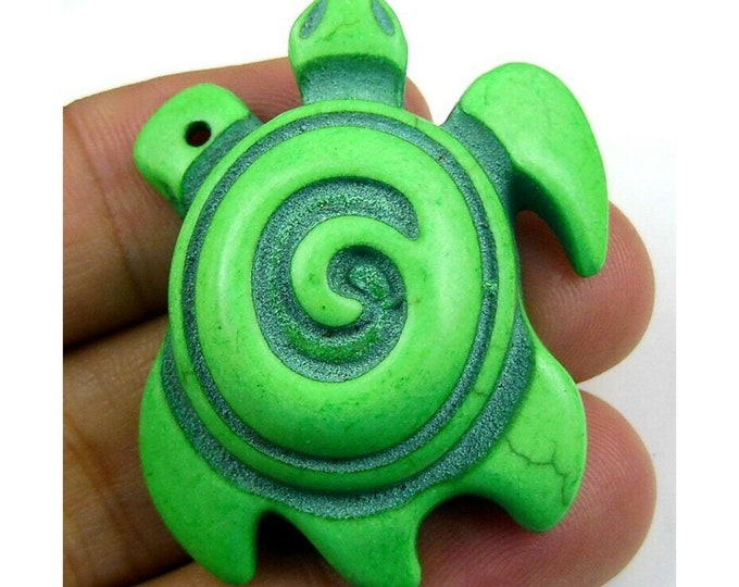 Green Turquoise Carved Tortoise Gemstone Focal Bead Pendant 41x32x12mm C42483