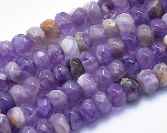 Amethyst Rondelle Beads | Grade A | Natural Gemstone Loose Beads | Sold by Strand | Size 5x8mm | Hole 1mm