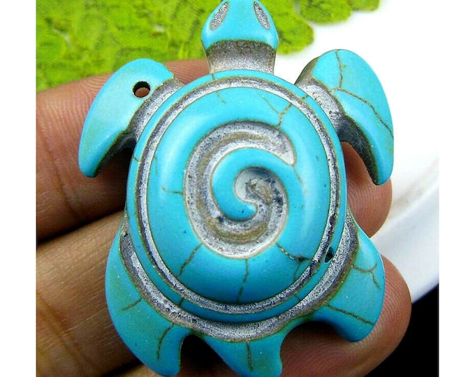 Blue Turquoise Carved Tortoise Gemstone Focal Bead Pendant 43x35x13mm Q16041