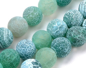Agate Beads | Green Effloresce | Grade A | Matte Round Natural Gemstone Loose Beads | Sold by 15 Inch Strand | Size 8mm