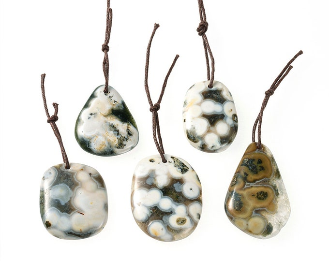 Ocean Jasper Slab Pendant | Natural Gemstone Pendant Loose Bead | Sold by Piece | Size ~25x30-33x40mm