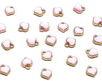 10 Pcs Pink Heart Gold Color Zinc Alloy Enamel Pendant Charm DIY ENAM-Q033-51A