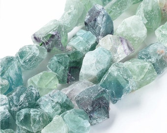 Raw Fluorite Nuggets Beads | Drilled Rough Natural Gemstone Loose Beads | Sold by 7 Inch Strand | Size 15~20x14~18x10~14mm