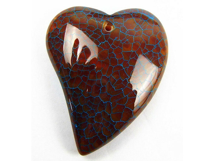 Brown Blue Fire Agate Heart Pendant Focal Bead 45x37x11mm V32418