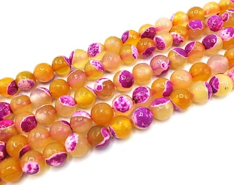 Fire Agate Beads | Yellow Pink | Faceted Round Natural Gemstone Loose Beads | Sold by Strand | Size 6mm 8mm 10mm 12mm