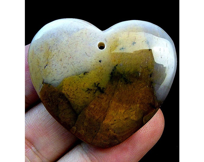 Natural Scenery Jasper Heart Gemstone Pendant Focal Bead 41x36x7mm B30041