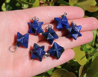 Lapis Lazuli Beads | Merkaba Pendant | 3D Star | Charka Healing Polygonal Focal | Natural Gemstone Pendant | Sold by Piece | Size 13x20mm