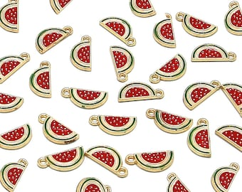5 Pcs Half Watermelon Gold Color Zinc Alloy Enamel Pendant Charm DIY ENAM-Q033-25