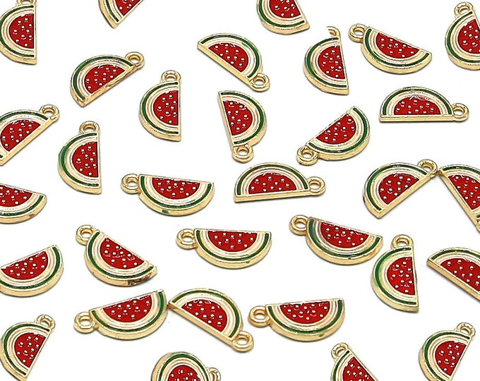 Half Watermelon Charms | Bracelet Charm | DIY Charm Jewelry | Enamel Zinc Alloy Pendant Charm | Sold by Lot 5 Pcs | Size 17x8x2mm