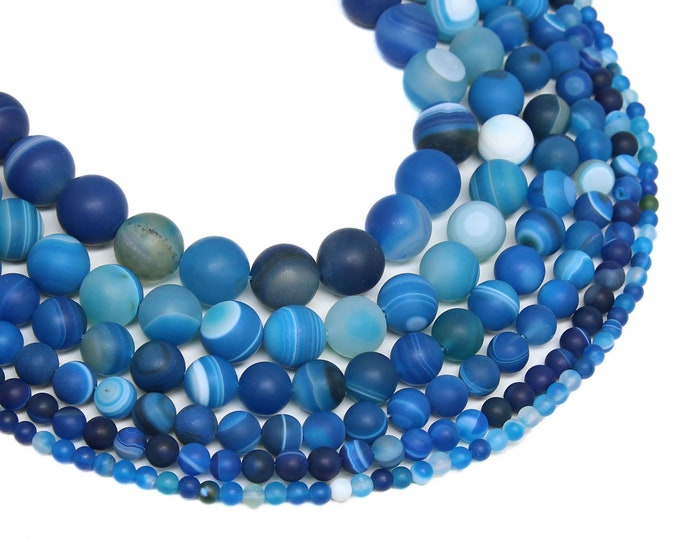 Matte Blue Stripe Agate Beads | Round Natural Gemstone Loose Beads | Sold by Strand | 4mm 6mm 8mm 10mm 12mm 14mm