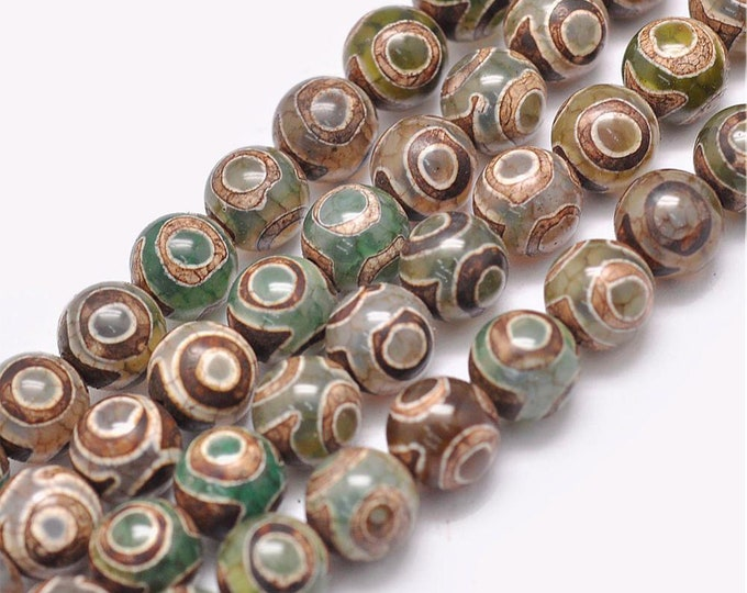 Tibetian Dzi Agate Beads | Brown Green | Round Natural Gemstone Beads | Sold by 7 inch Strand | Size 8mm