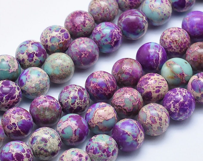 Galaxy Sea Sediment Jasper | Round Natural Gemstone Loose Polished Beads | Sold by Strand | Size 4mm 6mm 8mm 10mm
