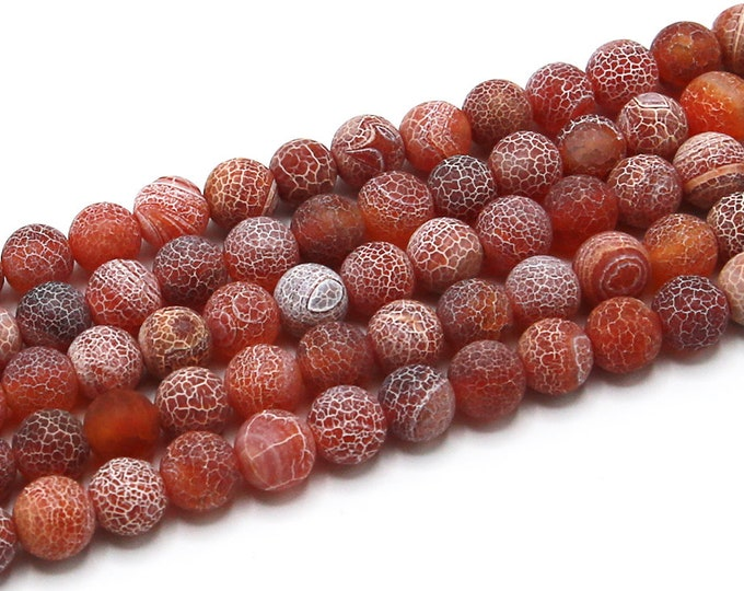 Agate Beads | Red Effloresce | Round Natural Gemstone Beads | Sold by 15 Inch Strand | Size 8mm