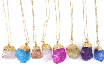 Natural Quartz Chakra Healing Crystal Pendant Necklace Colors for Choice
