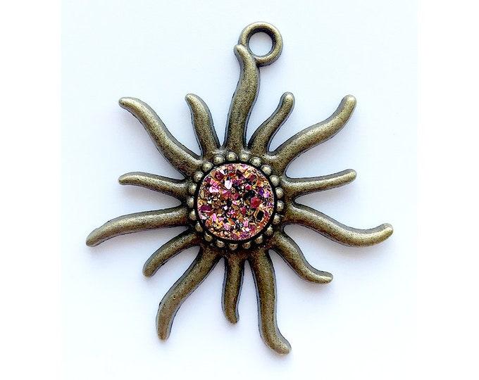2 Pieces Antique Bronze Metallic Purple Faux Druzy Agate Bezel Charm Sun Pendant