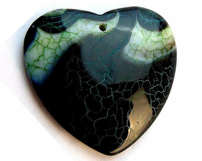 Black Green Fire Agate Heart Gemstone Pendant Focal Bead 44x42x8mm B29983