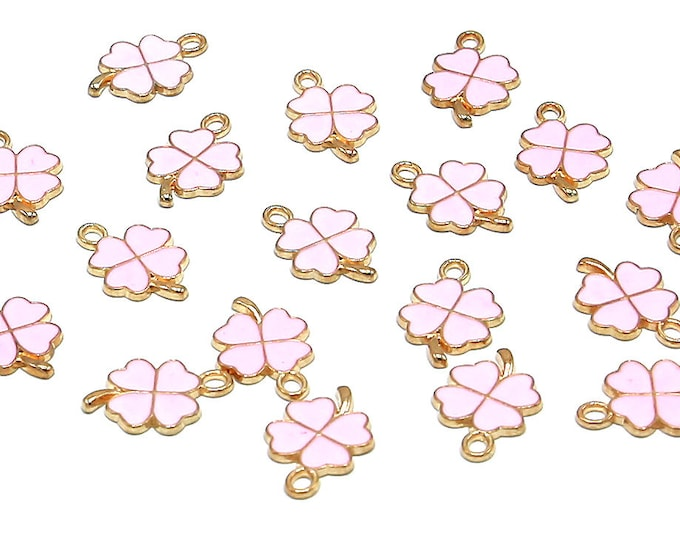 Clover Charms | Pink Clover | St. Patrick's Day | Bracelet Charm | Gold Edged Brass | Sold by Lot 5 Pcs | Size 19x12.5x1.5mm