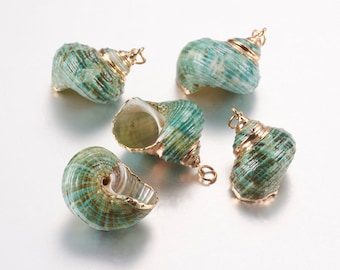 Natural Sea Shell Pendant | 18K Gold Plated Spiral Conch Shell | Sold Individually | Size 21~37x22.5~32x18~30mm